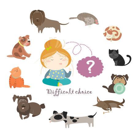 choose: Girl thinking whom to choose. flat illustration
