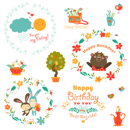 happyness: Set of birthday elements with cute animals and wreath Illustration