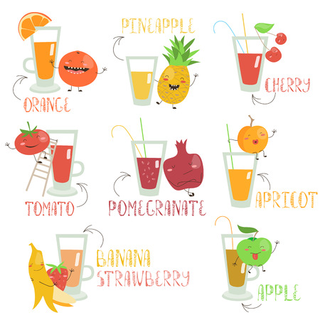 happyness: Juices set with cartoon fruits and vegetables. isolated illustration