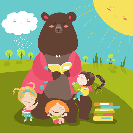 Cute bear reading book for girls. illustration Ilustracja
