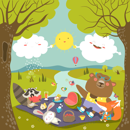 Animals at picnic in forest.