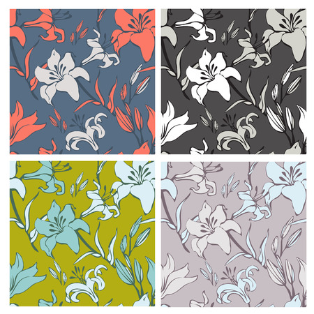 lilly: Seamless vintage lilly flower pattern on colorful background Illustration