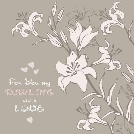Salutation ou carte d'invitation avec bouquet de fleurs de lys. fond fête florale.