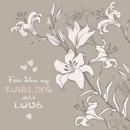 Greeting or invitation card with bouquet lily flower. Floral festive background. Illustration