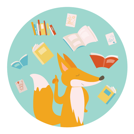 student reading: Cartoon fox with color books. illustration