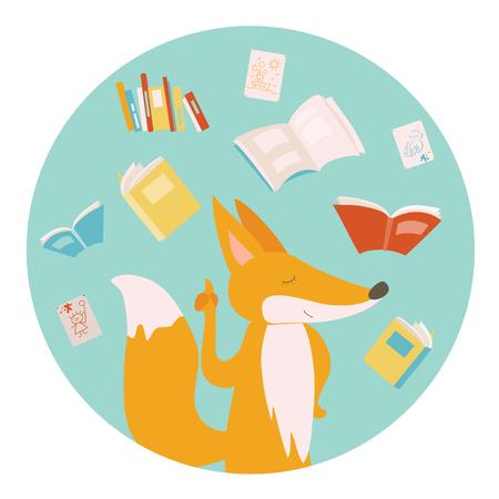 cartoon reading: Cartoon fox with color books. illustration