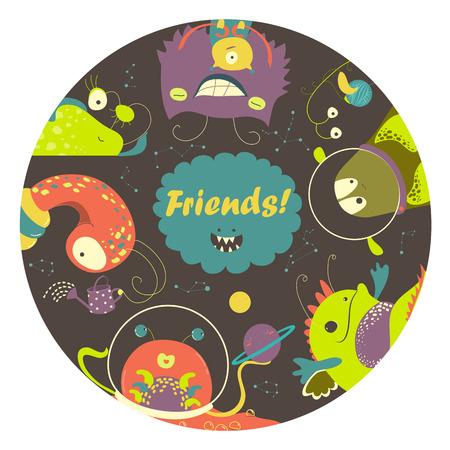 unidentified: Cute cartoon alien monsters friends. illustration