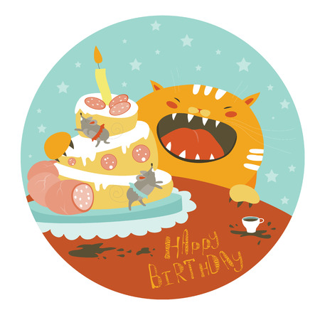 Funny cat and big cake with mouse. illustration