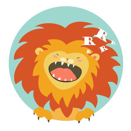 Cartoon character funny lion roaring.  illustration Ilustração