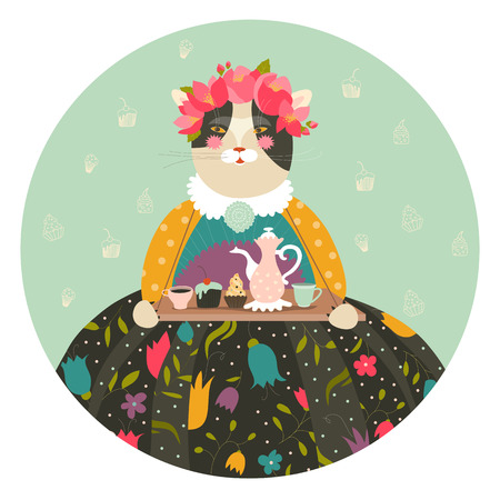 happy woman: Cute cat with teapot and cupcakes wearing dress. Vector illustration