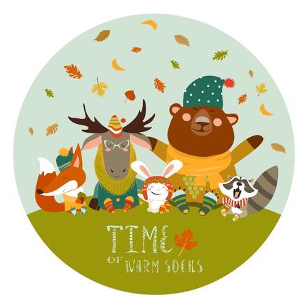 cute animals: Happy cute animals meeting autumn. Vector illustration