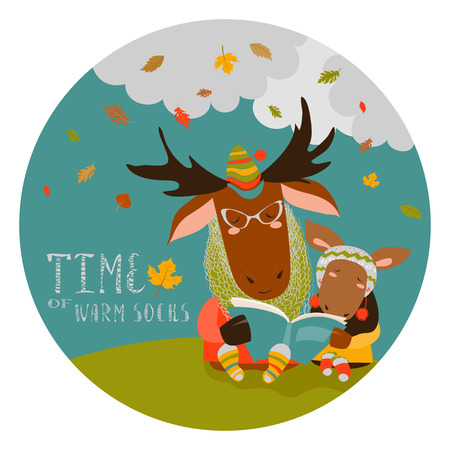 absorbed: Cute elk with his cub reading book. Vector illustration