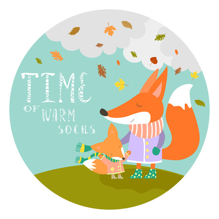 cub: Cute fox with her little cub. Vector illustration