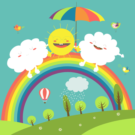 Vector illustration of rainbow, cloud and happy sun in the sky Vectores