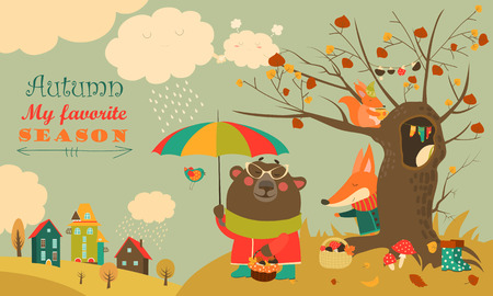 Cute animals walking in autumn forest. Vector illustration  イラスト・ベクター素材