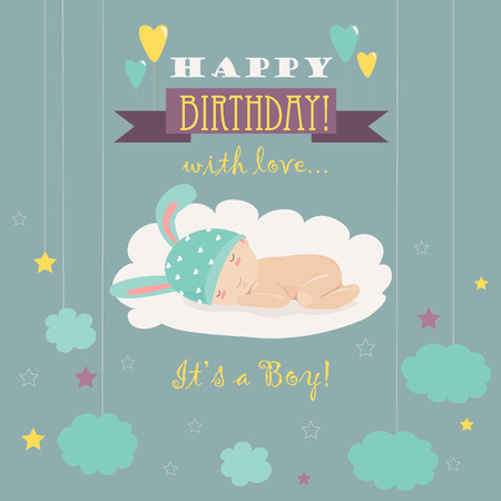 it s a boy: Baby theme. It s a boy. Vector greeting card