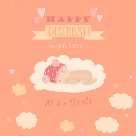 it s a girl: Baby theme. It s a girl. Vector greeting card Illustration