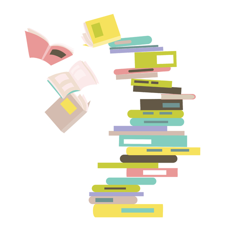 Falling stack of books. Vector isolated illustration  イラスト・ベクター素材