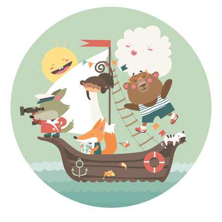 cute animals: Cute animals travelling by ship on sea. Vector illustration Illustration