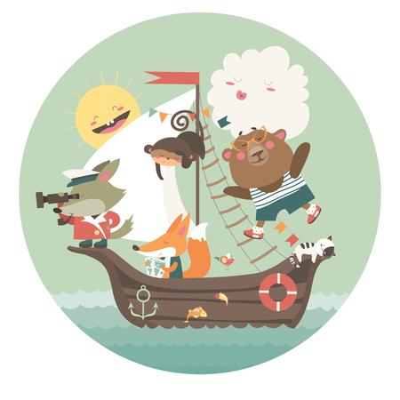 Leuke dieren die per schip op zee reizen. Vector illustratie