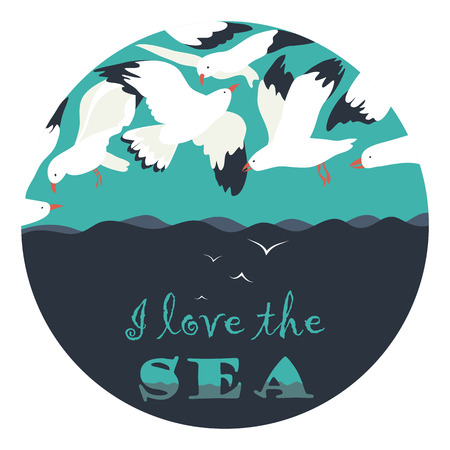 seagulls: Seagulls flying over the sea. Vector illustration