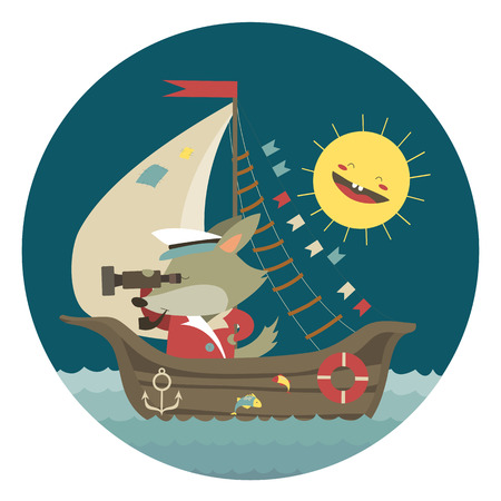 ship captain: Cute captain wolf travelling by ship on sea. Vector illustration