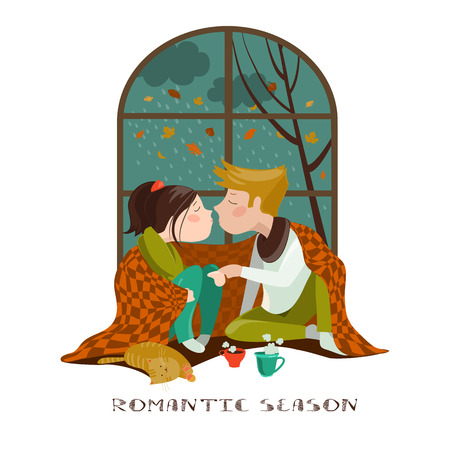 autumn woman: Young couple kissing under the plaid. Vector illustration Stock Photo