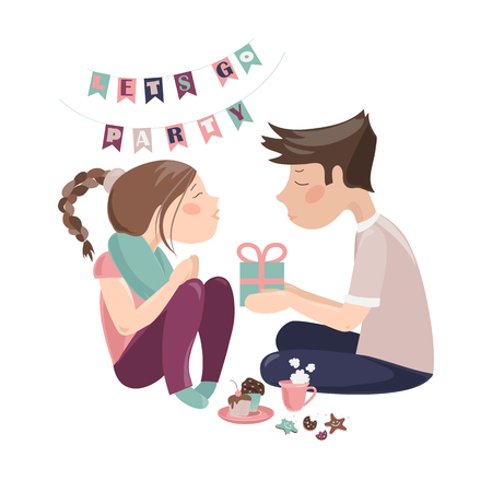 Boy giving gift to girlfriend. Vector isolated illustration