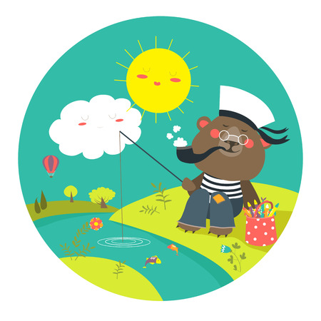frock: Cute bear catches a fish on a fishing rod. Vector cartoon illustration Illustration