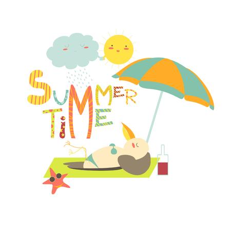 sunbathing: Funny seagull sunbathing under umbrella.Summer time. Vector illustration