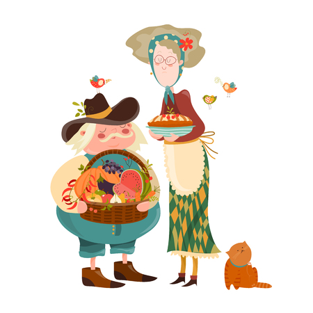 peasant woman: Couple with basket of fruits and vegetables. Vector illustration