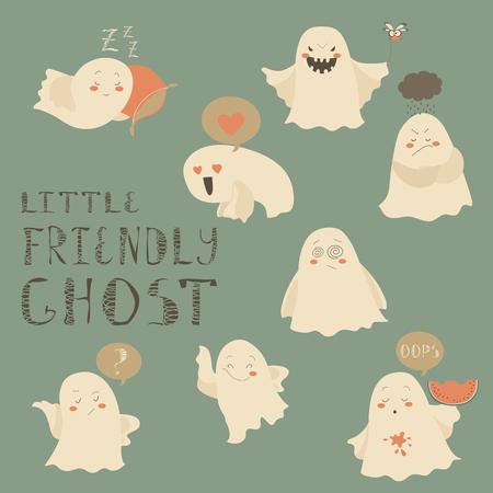 poltergeist: Little friendly hosts emoticon halloween set. Vector collection