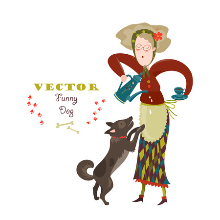 active seniors: Cheerful elderly woman with funny dog. Vector illustration