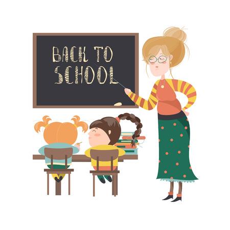 maestra preescolar: Profesor por la pizarra con los alumnos en el aula. ilustración vectorial