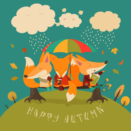 Cute foxes sitting under an umbrella on a log. Vector illustration Illustration