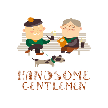 Old men sitting on a bench. Vector isolated illustration