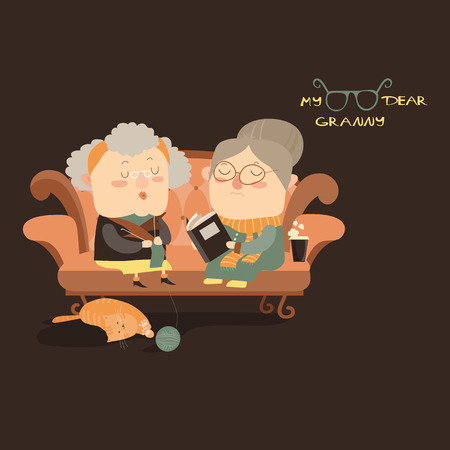 mature: Elderly women sitting on couch. Vector illustration