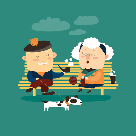 Old couple sitting on bench. Vector romantic greeting card