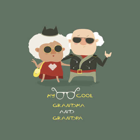 Cool grandma and grandpa wearing in leather jacket. Vector illustration Illustration