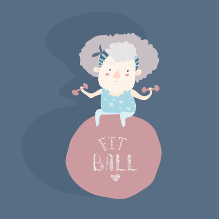 seniors: Elderly woman doing fitness with fitball. Vector illustration Illustration