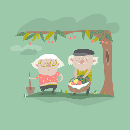 mature: Vector Illustration of adult gardener family and landscape with gardening concept Garden landscape with age people, various plants, trees in flat style