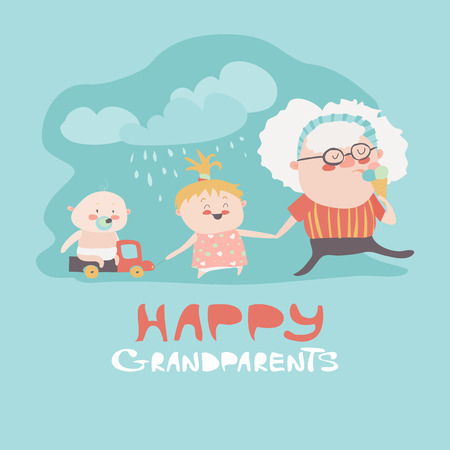 grandchildren: Happy grandmother with their grandchildren. Vector illustration
