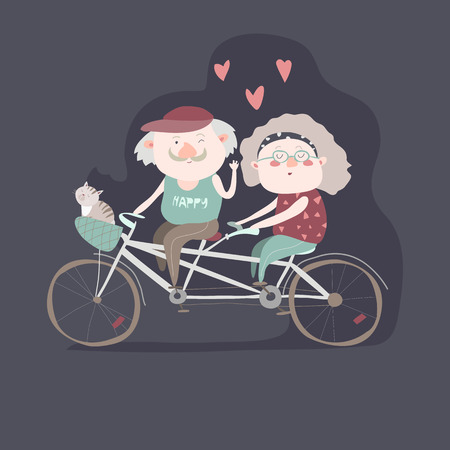 tandem: Elderly couple riding a bicycle tandem. Vector illustration