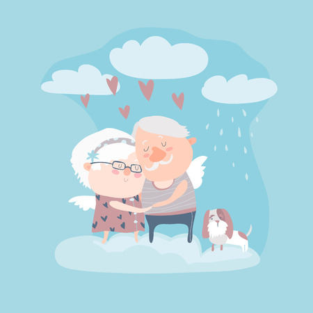 amur: Couple of elderly angels hugging. Vector greeting card