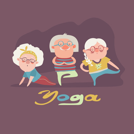 senior exercise: A vector illustration of senior people doing yoga exercise