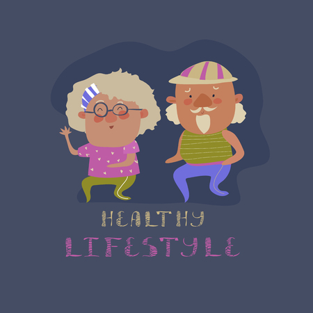 elderly people: Old couple man and woman running. Flat design vector