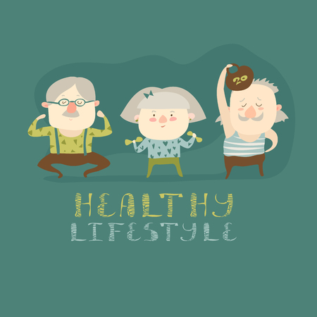 Ouderen die oefeningen. Vector flat cartoon illustratie