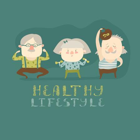 Les personnes âgées de faire des exercices. Vector plate illustration de bande dessinée