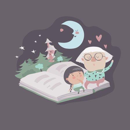 grandmamma: Grandmother tells a fairytales to her granddaughter. Vector illustration