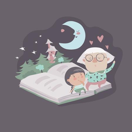 Grootmoeder vertelt een sprookjes aan haar kleindochter. vector illustratie Stock Illustratie